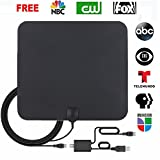 HD TV Antenna,Indoor Amplified Digital HDTV Antenna 50 Mile Range with Detachable Amplifier Signal Booster and 13.2FT High Performance Coaxial Cable Local Broadcast 4K/HD/VHF/UHF Signal Channels for Television