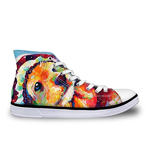 FOR U DESIGNS Fashion Unisex Owl Wolf Horse Animal Print High Top Lace Up Shoes Casual Canvas Sneakers For Women and Men Dog 3 FXgcYYqkO
