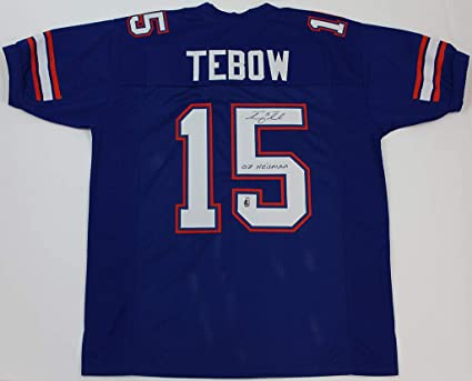 outlet store 6abde 5dd97 Tim Tebow Autographed Blue Florida Gators Jersey - Hand ...
