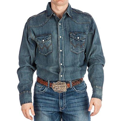 Wrangler Men's Big & Tall Western Work Shirt Washed Finish