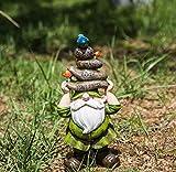 Ivy Home Outdoor Decorative Garden Statue,Gnome Held Stones His Head