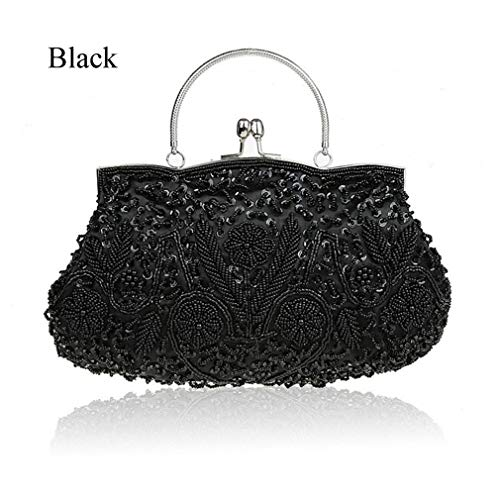 Party Bridal Wristlet Embroidered Evening Beaded Clutch Women Wedding Beads Bags Black Handbag Ladies Exquisite qxxv7z0w