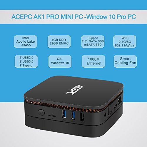 ACEPC AK1 PRO,Mini PC Intel Celeron Processor J3455 Windows