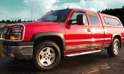 Made in USA! Works with 1999-2002 Chevrolet Silverado 3Dr Extended Cab Short Bed W/O Fender Flare Rocker Panel Chrome Stainless Steel Body Side Moulding Molding Trim Cover 6