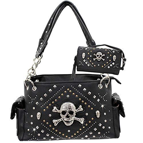 New Studded Rhinestone Skull Western concealed Carry Handbag Wallet Set (Black)