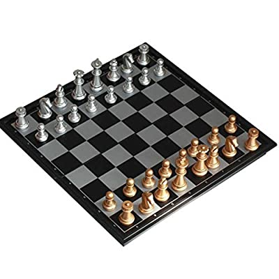 AxiEr Folding Magnetic Chess Set Portable Board Game Toy Pieces with Storage for Travel Outdoor Indoor Kids Adult Children-9.8""