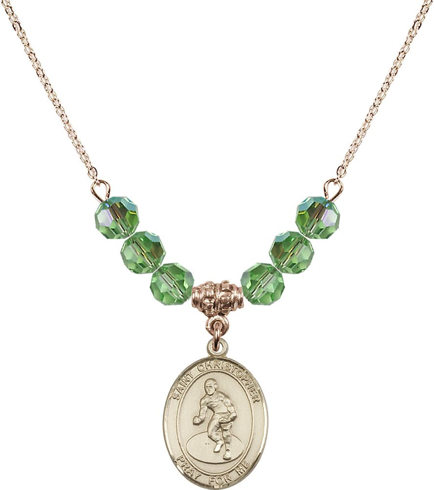Gold Plated Necklace with 6mm Peridot Birthstone Beads & Saint Christopher/Wrestling Charm. by F A Dumont