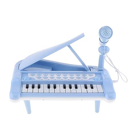 Homyl Teclado de Piano Eléctrico de Volumen Ajustable, Juguete de Instrumento Musical - Azul