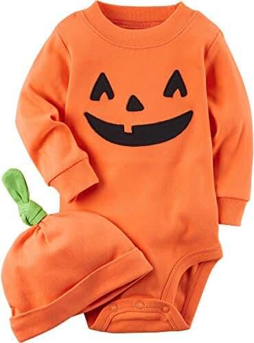 Carter's 2 Piece Pumpkin Hat And Collectible Bodysuit