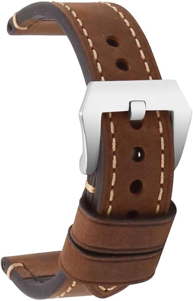 Correa de Reloj con Correa de Repuesto de Cuero para Hombres18mm 20 mm 22 mm 24mm 26mm Correa de Hebilla de Acero Inoxidable para una Variedad de Relojes Tradicionales Repuestos de Reloj