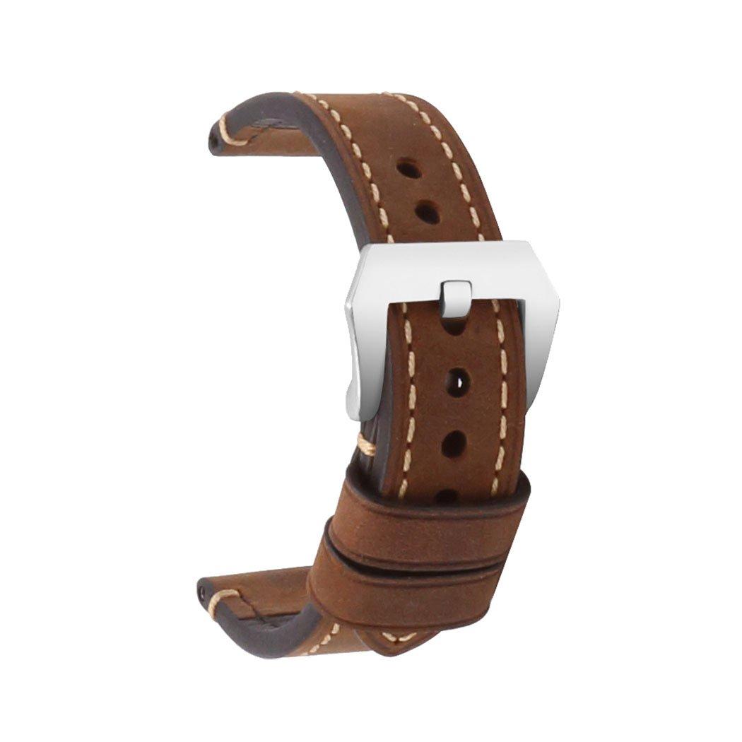 omyzam腕時計バンド交換用ストラップ18 mm 20 mm 22 mm 24 mm 26 mm、Apple Watchバンド38 mm 42 mm 18mm|Large Buckle Brown Large Buckle Brown 18mm B074SFPTPK