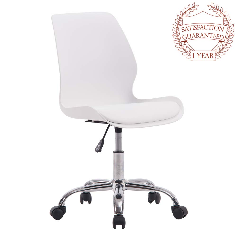 Porthos Home LVC006A WHT Adjustable Height Office Desk Chair with Wheels, Easy Assembly, White or Black, One Size by Porthos Home (Image #6)