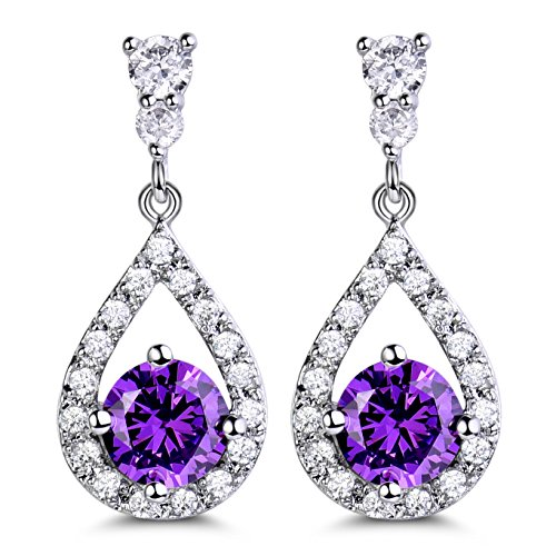 GULICX Purple Pierced Drop Earring Dangle Silver Plated Base Round Crystal Cubic Zirconia Amethyst Color