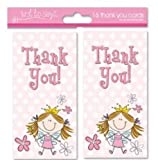 16 x Girls Fairy Design Party Thank You Cards