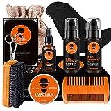 Wumal Beard Kit for Men 10 in 1 - Ultimate Beard Grooming Kit for Grow Beard Includes Comb, Oil, Balm, Wash, Shampoo, Brush, Scissors, Shaper, Apron Bib and Burlap Bag