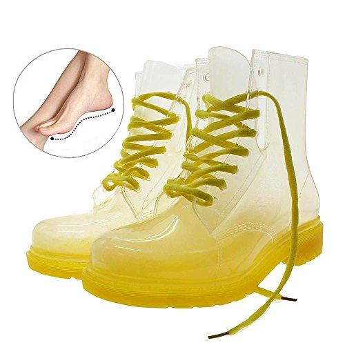 Frauen Gummi Farbe Klar Wasserdichte Regen Stifel Transparent Schuhe - Rosa, Größe 36