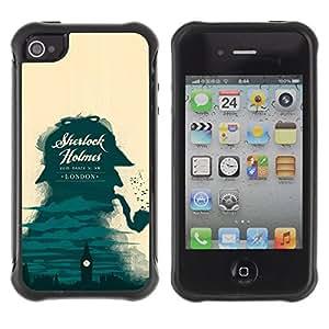 Be-Star único patrón Impacto Shock - Absorción y Anti-Arañazos Funda Carcasa Case Bumper Para Apple iPhone 4 / iPhone 4S ( Sherlock Detective London Big Ben )