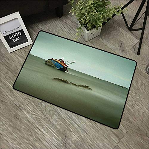 Square Door mat W16 x L24 INCH Shipwreck,Old Photo of Decadent Derelict Fishing Boat Bow in Thailand Day Lights Sunrise,Grey Blue Easy to Clean, no Deformation, no Fading Non-Slip Door -