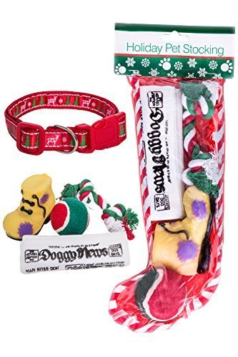 Stockings for Dogs + Christmas Dog Collar Bundle Includes 4 Dog Toys Large Collar Perfect Pet Christmas ()