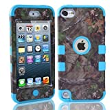 Lantier For iPod Touch 5th Case,Plastic 3 Layer TUFF Hard Cover Camo Triple Hybrid Silicone Quakeproof Drop Resistance Protective Shell Case for iPod Touch 5 5th Generation with Screen Protector and Stylus Pen Brown Branch/Blue