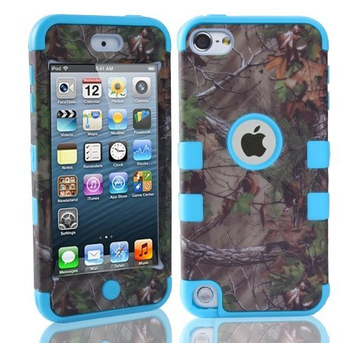 Lantier For iPod Touch 5th Case,Plastic 3 Layer TUFF Hard Cover Camo Triple Hybrid Silicone Quakeproof Drop Resistance Protective Shell Case for iPod Touch 5 5th Generation with Screen Protector (Hybrid Shell Ipod)