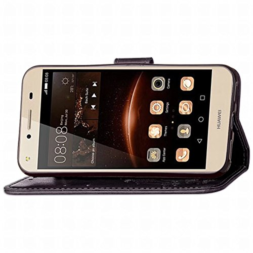 Yiizy Huawei Y5 II / Honor 5 / Honor 5 Play Funda, Tres Hoja Hierba Diseño Solapa Flip Billetera Carcasa Tapa Estuches Premium PU Cuero Cover Cáscara Bumper Protector Slim Piel Shell Case Stand Ranura