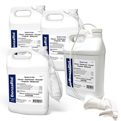 BenzaRid - Hospital Grade Cleaner - (4) Gallon Set - Kills Mold, Mites, MRSA, Odors, Staph, H1N1, H5N1 Viruses, Blood Born Pathogens, Antibacterial, Fungicide, Bug Killer, Flood Damage, Water Damage (Mold Mites)