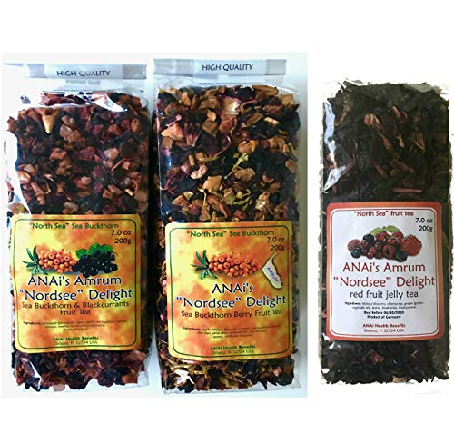 Sea Buckthorn Berry Fruit Tea (Sanddorn) and Red Berry Fruit Tea, with Black Currants and Many Anti-Oxidant Super-Foods To Boost Immune System! (3x 200g ea.) Herbal Teas