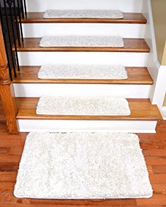 Perfect Dean Serged DIY Premium Carpet Stair Treads 30u0026quot; X 9u0026quot;   Deluxe  Ivory Shag