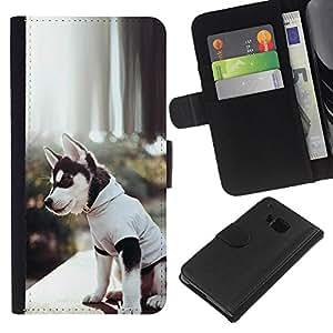eJoy---La carpeta del tirón la caja de cuero de alta calidad de la PU Caso protector - HTC One M7 - --Siberian Husky Alaskan Malamute Puppy