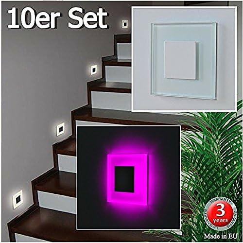 Juego de 10 SUN-LED apliques focos LED para escaleras, escalera, corridor, luz rosa marco de