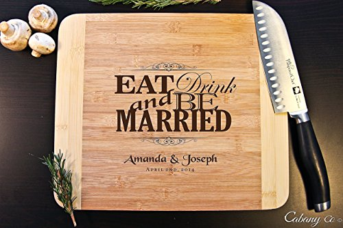 Personalized Cutting Board Engraved Bamboo Chopping Block HDS - Eat Drink be Married