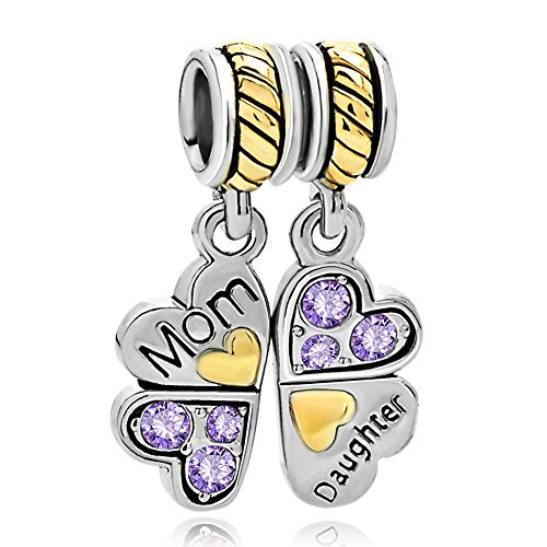Roy Lopez Mother Daughter Love Family Birthstone Dangle Charm Bead Fit Bracelet (Purple)