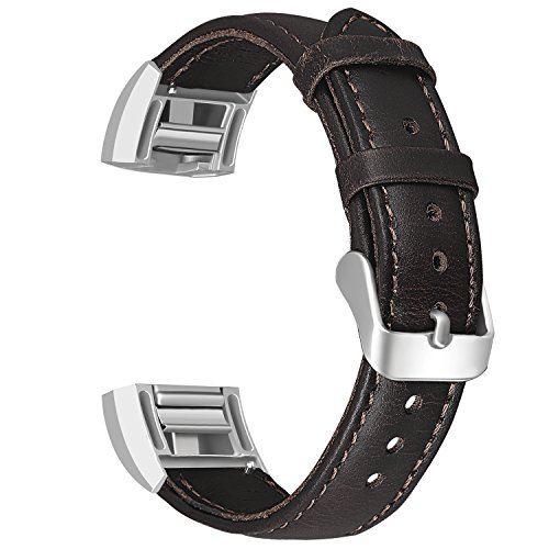 SKYLET Compatible with Fitbit Charge 2 Bands, Retro Genuine Leather Classic Replacement Wristband Compatible with Fitbit Charge 2 with Metal Connector Men Women Small Large (No Tracker)