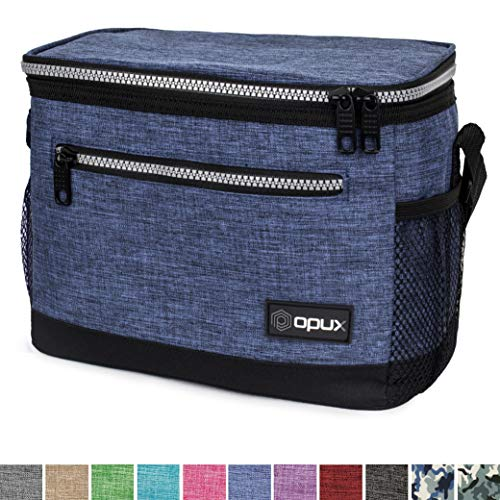 OPUX Premium Insulated Lunch Bag with Shoulder Strap | Lunch Box for Men, Women, Teens | Soft Leak Proof Liner | Medium Lunch Cooler for Office, School | Fits 6 Cans (Heather Navy)