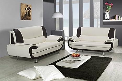 Conjunto de sofá 3 y 2 plazas blanco y negro, diseño Muza ...
