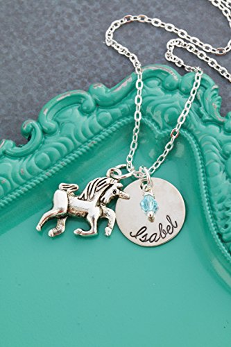 Personalized Unicorn Necklace – DII - Little Girls Gift – Fantasy – 5/8 Inch 15MM Disc – Customize Name – Choose Birthstone Color – Fast 1 Day Shipping