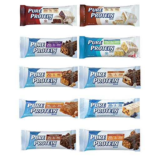 Pure Protein Bars, High Protein, Nutritious Snacks to Support Energy, Low Sugar, Gluten Free, Variety Sampler Pack – 10 Flavors Included, 10 Pack