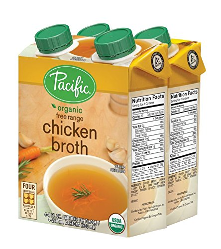 Pacific Foods Organic Free Range Chicken Broth, 8-Ounce Cartons, 24-Pack -
