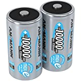 Ansmann 5030642 ANSMANN Rechargeable D Batteries 10.000mAh maxE ready2use NiMH Professional D Battery pre-charged Power Accu for flashlight (2-Pack)