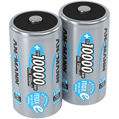 ANSMANN Rechargeable D Batteries 10.000mAh maxE ready2use NiMH Professional D Battery pre-charged Power Accu for flashlight (2-Pack)