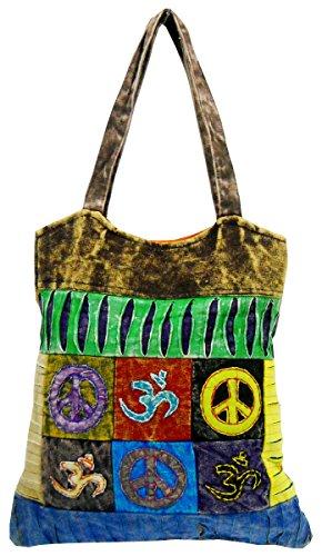 Tibetan Banjara Om Aum Peace Jhola Boho Patchwork Tote Indian Shoulder Bag #276