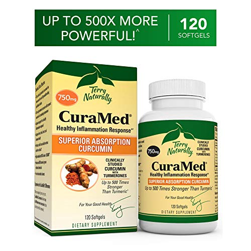 Terry Naturally CuraMed 750 mg - 120 Softgels - Superior Absorption BCM-95 Curcumin Supplement, Promotes Healthy Inflammation Response - Non-GMO, Gluten-Free, Halal - 120 Servings ()