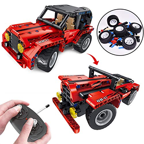 Stem Building Toys, 2-in-1 Remote Control Car, 8.7 Inch RC Truck, 333PCs Building Blocks Set for 7, 8 and 9 Year Old Boys, Leaning Toys for Kids (Rc Building Sets)