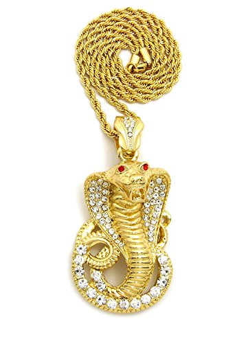 Cobra Gold Chain (Pave Red Eye Cobra Pendant 24