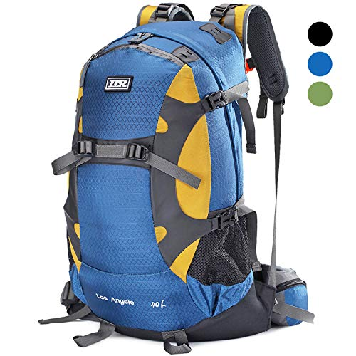 TFO External Frame Hiking Backpack 40L with Rain Cover, YKK Zippers & EVA Pads Waterproof Lightweight for Outdoor Camping, Mountaineering (Upgraded) Blue (Nylon External Frame Pack)