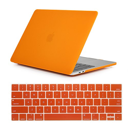 Se7enline 2016-2018 Macbook Pro Case 2 in 1 Bundle Soft-Touch Plastic Hard Case Cover for Macbook Pro 13 inch with/without Touch Bar and Touch ID Model A1706/A1708/A1989 with Keyboard Cover, Orange