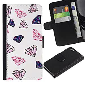 Estuche de Cuero Billetera del tirón Tarjeta de la Bolsa Titular de Suave Caso para Apple Iphone 5 / 5S / CECELL Phone case / / Diamond Glitter Pink White Minimalist Jewels /