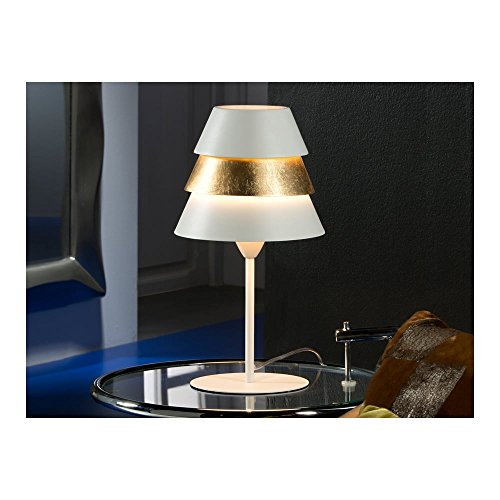 Schuller Spain 648436I4L Modern, Art Deco White Table Lamp Gold 1 Light Living Room, bed room, Study, Bedroom LED, 3 Tier Shade Table Lamp | ideas4lighting by Schuller