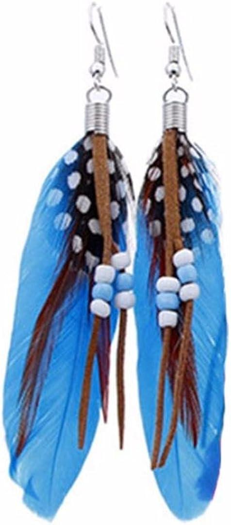 Covermason Boucles doreilles Femme R/étro Style Forme de Plume Gravure Boucles doreilles Boho Folk Style de Pendentif Mariage Bijoux Cadeaux de Anniversaire
